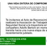 Invitación Reconocimiento a Adolfo Bertoni