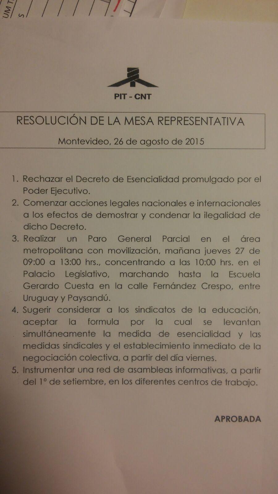 Resolución de la Mesa Representativa del PIT-CNT realizada el 26 de agosto de 2015